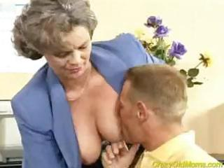crazy old mom acquires dick drilled in the office