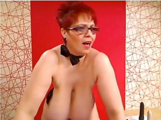 corpulent redhead on her livecam shows her big