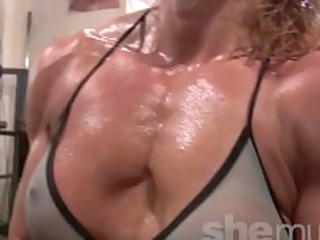 hot older golden-haired workout