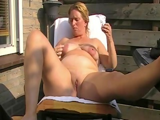 hot fat mature with chubby nipples fucks her holes
