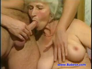 one granny, one milf and a young dude make for a