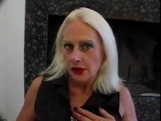golden-haired old granny tart in fishnets fucks