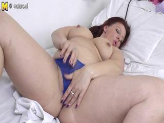 large mature nurse mother bonks herself on work