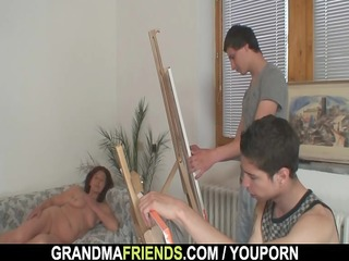 granny is banged by young painters