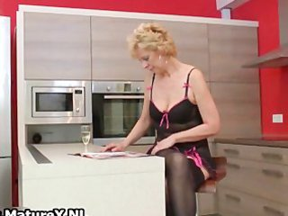 Blonde mature wife in black stockings part2