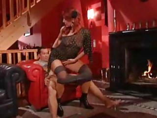 mature whore in dark nylons with fiery red hair