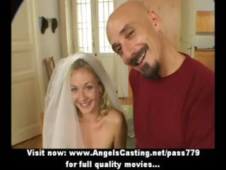 Superb sexy amateur blonde wife talking with a