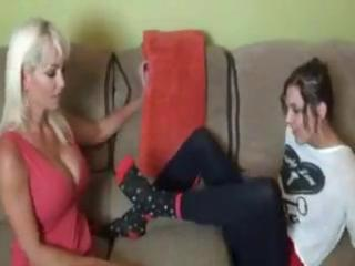 Mature blonde wench goes shrimping on a young