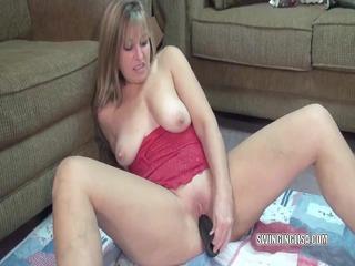 mature liisa copulates a big black sex toy