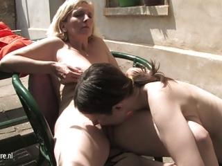 young hirsute lesbian daughter copulates a older