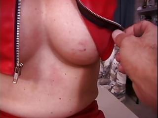 mature big milk sacks brunette hair in red latex,