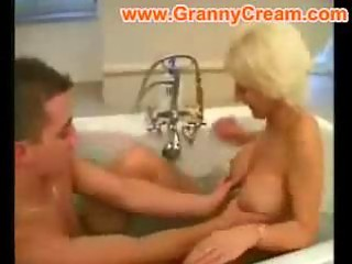 golden-haired aged mama drilled in the bathroom
