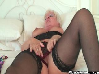 curvy granny in dark nylons rubs her old love