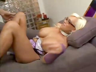 hot big-tittied blondie licks her hard nipps and