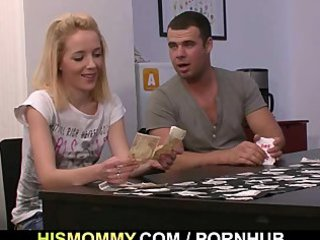 undress poker with his gf and mommy leads to