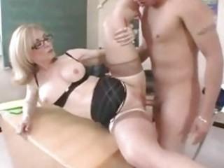 milf teacher in glasses gets a classroom hardcore