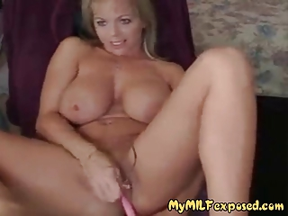 breasty shaved milf with vibrator playing with