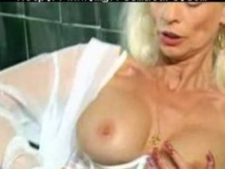 mature in white lingerie and nylons fisted aged