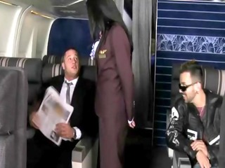 air hostess with moutful of cock for her