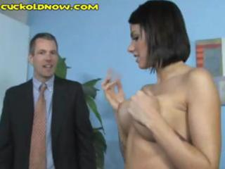 cheating spouse licks the dark studs cum off his
