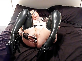 latex stockings and 8 inch heels