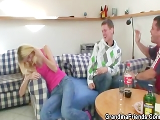 partying chaps tempt slutty blonde granny and