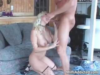 superb golden-haired sexy mother i smokes big