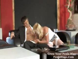 chubby older blond munches on his penis and
