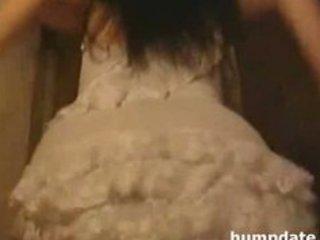 Stunning brunette milf with big boobs teasing