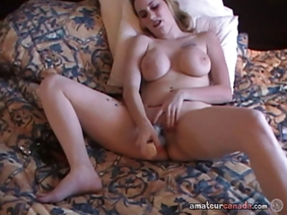 busty milf uses sex toys in pierced soaked pussy