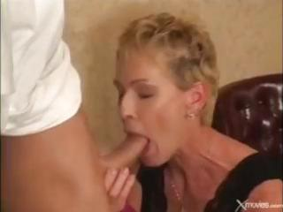 short-haired older golden-haired receives fucked