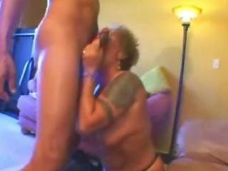 tattooed blonde granny acquires a large hard knob