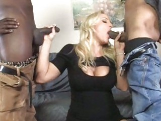 breasty milf gets double team-fucked by blacks