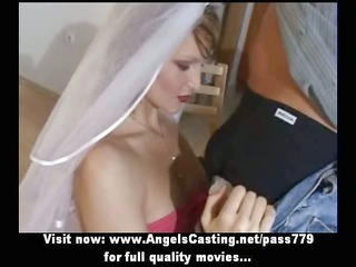 amateur hawt blonde bride sweet talking and doing