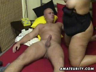 obese non-professional wife sucks and bonks at