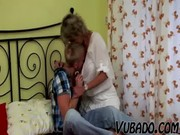 youthful guy copulates older lady in bedroom !!