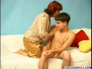 aged chubby russian redhead gives this young boy