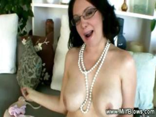 horny milf desires different pearls round her