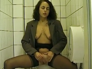 Public toilet blowjob and peeing with amateur wife