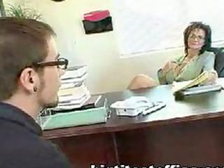 mature mom bonks computer repairman in her office