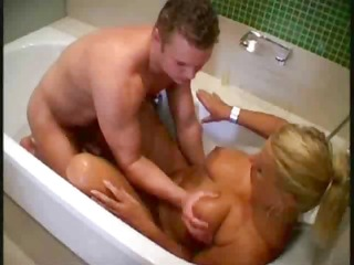 athletic juvenile boy indulges breasty