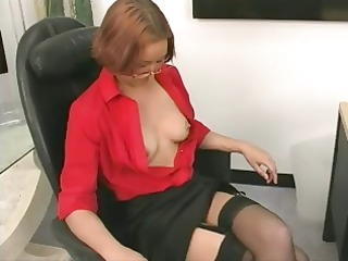 office skank gets naked and continues to