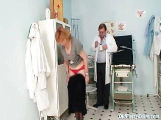 redhead granny indecent muff stretching in gyn