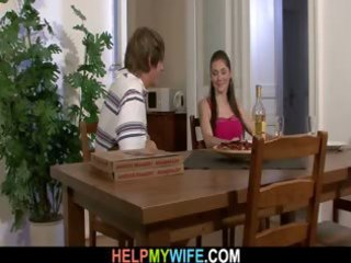 hot wife cucks hubby with pizza guy