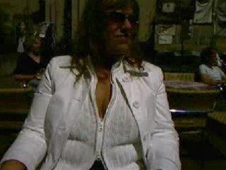 German wife flashing in public cafe