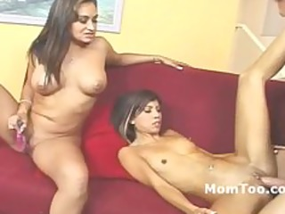 large tit mother and slender daughter drilled on