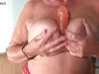 large breasted grandma monieka acquires down and