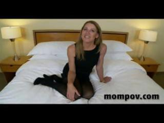 aged blond housewife gives him a blowjob, tugjob