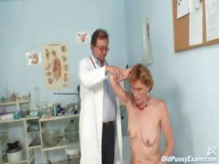 aged lady mila goes for an exam and shows off her
