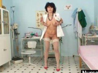 breasty dilettante milf wears latex uniform and